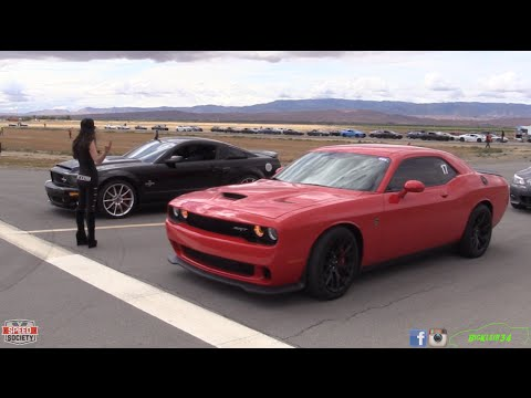 challenger hellcat takes on gt500 and supra in half mile racing - Challenger Hellcat