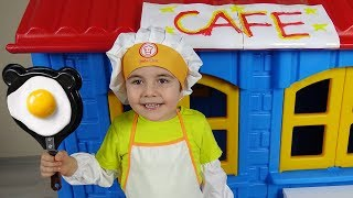 Oyuncu Yusuf pretend play with Cafe-Funny Kids Video