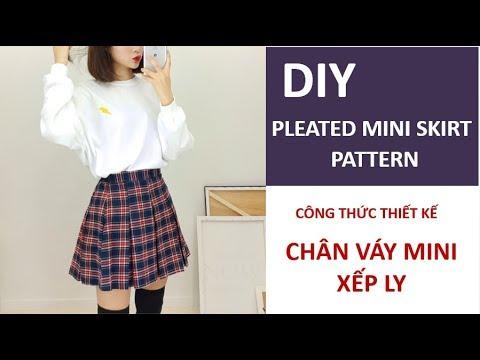 DIY Pleated Mini Skirt Pattern | Cách Thiết Kế Cắt May Chân Váy Mini Xếp Ly