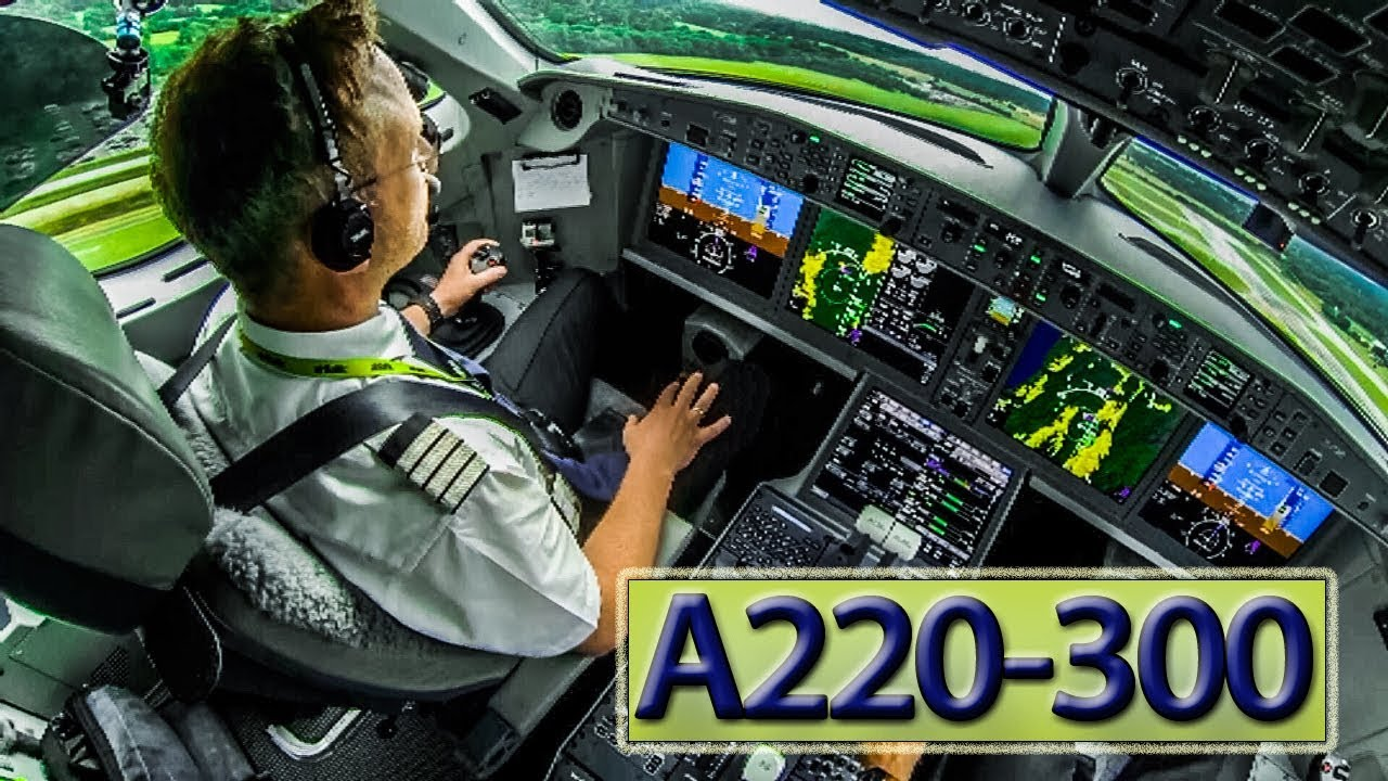 Inside the cockpit of an Airbus A220