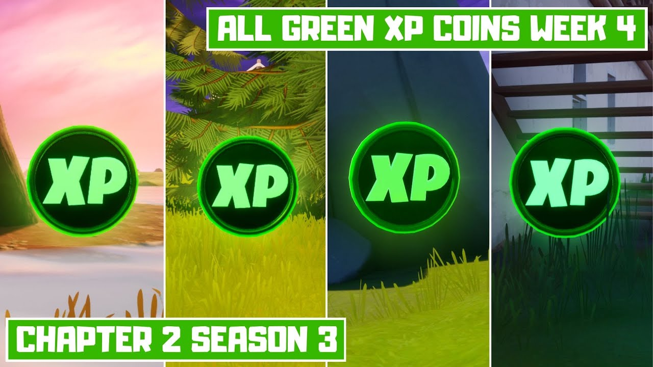 All 4 Green XP Coins Locations Week 4! - Secret XP Coins Fortnite Chapter 2 Season 3