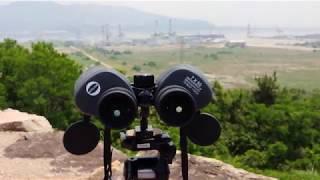 쌍안경으로 순천왜성에서 바라 본 풍경 (율촌 산업단지 …