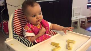 6 month old baby eating banana blw with emmi