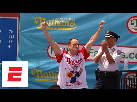 "Joey ""Jaws"" Chestnut Beats Own Hot Dog-Eating Record With 74"