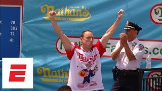 Joey Chestnut pummels record 74 hot dogs to win Nathan's Hot Dog Eating Contest for 11th time | ESPN