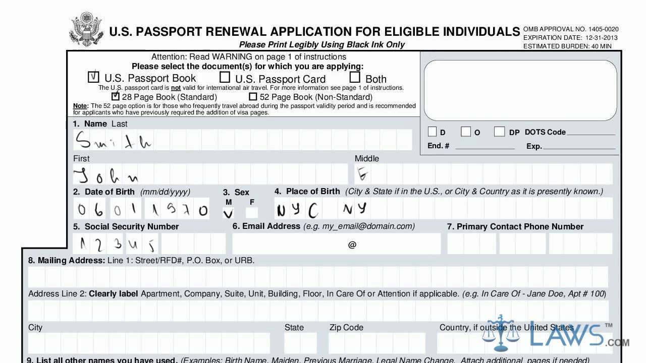 Learn How To Fill The Form Ds 82 U.s Passport Renewal Application For  Eligible Individuals - Youtube