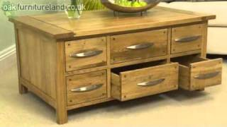 Newark Solid Oak 6 Drawer Coffee Table From Oak Furniture Land