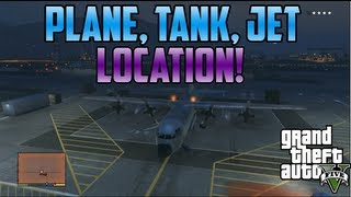 Gta5: Jet, Tank, Huge Plane, Vehicle Location! (Military Base)