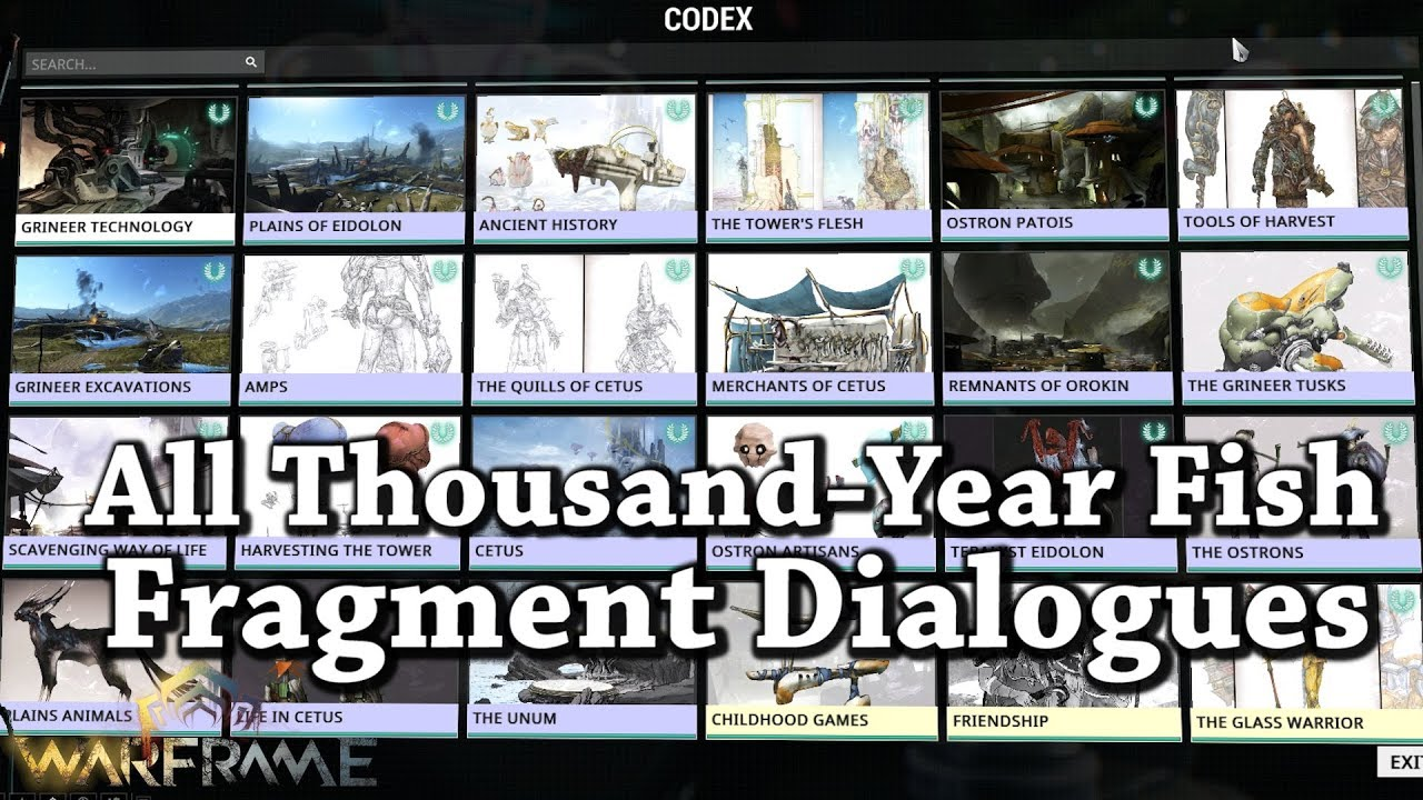 Warframe All Thousand Year Fish Fragment Dialogues YouTube