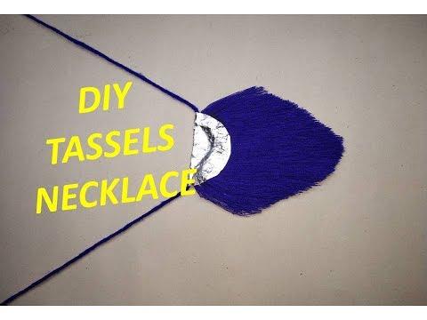DIY Tassel Necklace Tutorial // How to make Big tassel and its fringe necklace at home