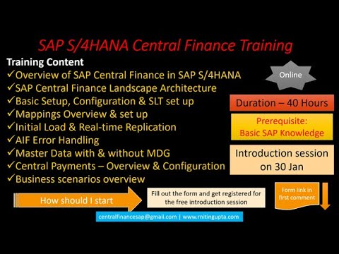 SAP Central Finance Training - Online