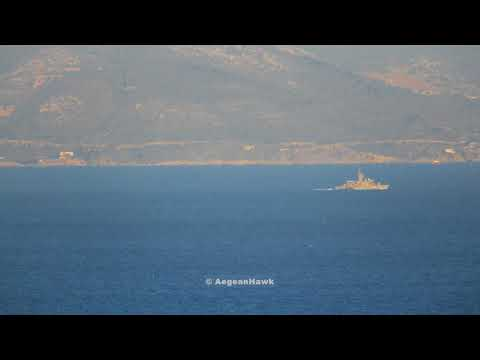 Hellenic Navy Gunboat Osprey class entering Chios Strait southbound.