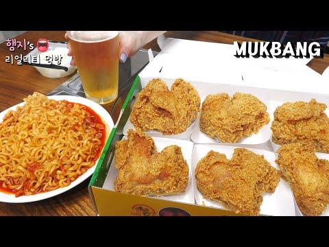 리얼먹방:) 바삭한 후라이드 치킨이 땡기는날 ★ ft. 김치불닭볶음면, 맥주 ㅣCrispy Fried ChickenㅣREAL SOUNDㅣASMR MUKBANGㅣ