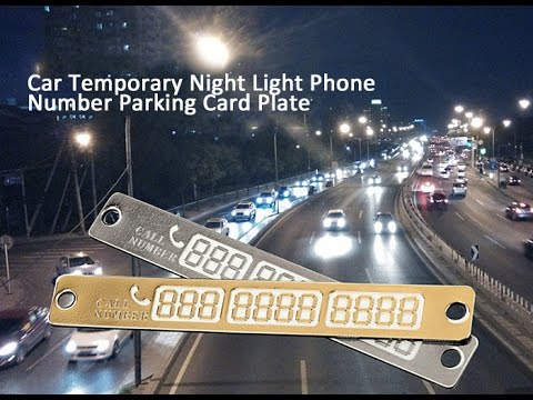Car Temporary Night Light Phone Number Parking Card Plate...