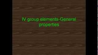 IV group elements-General properties