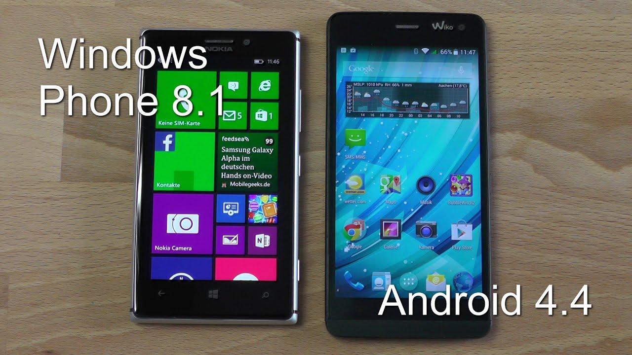 Vergleich Windows Phone 8.1 und Android 4.4 KitKat