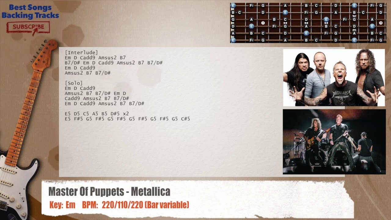 Master Of Puppets Metallica Guitar Backing Track With Chords And