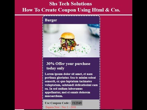 How To Create Coupon Using Html And Css | How To Design Coupon In Html And Css