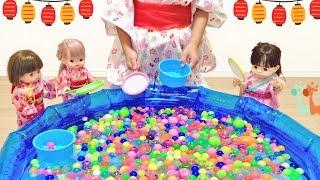 スーパーボールすくい 流れるプール メルちゃん ぽぽちゃん / Mell-chan Doll and Bouncy Ball Scooping thumbnail