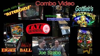 #1025 Atari ASTEROIDS, Gottlieb AMAZON HUNT & Bally EIGHT BALL Pinball Machines- TNT Amusements