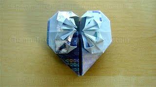 Geldschein falten Herz - Geldgeschenke basteln Hochzeit: Geld falten Herz - DIY Origami Herz