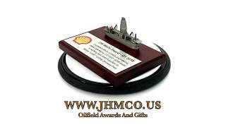 Drill Ship Offshore Platform Award JHM#86 Model Shell Oil Plaque