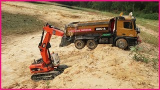 Car Toys For Kids, Excavator Rescue Helps Dump Trucks, Play with Toy Cars