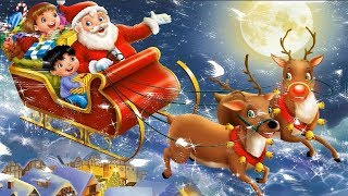 How to Draw Santa Claus Sleigh Presents Reindeer Coloring Pages Kids Fun