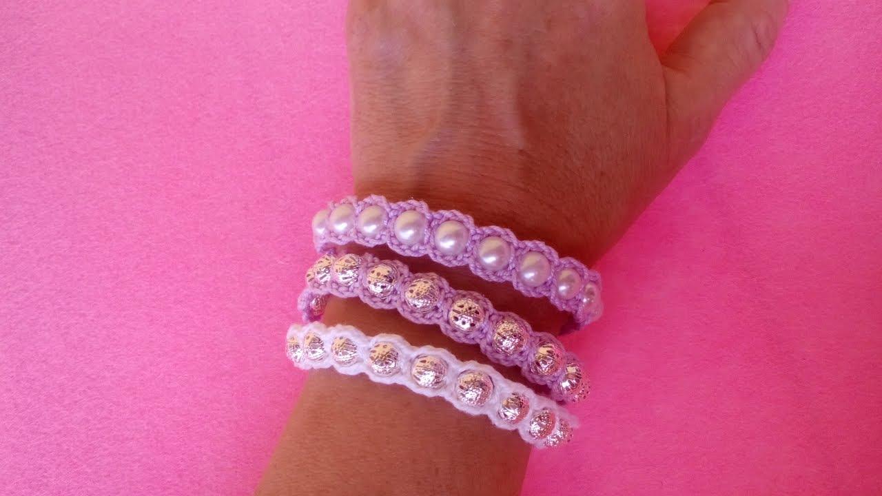 Bracciale Con Perle Ad Uncinetto Crochet Bracelet Pearl Brazalete