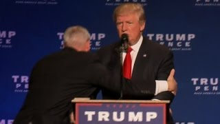 Donald Trump rushed off stage at rally