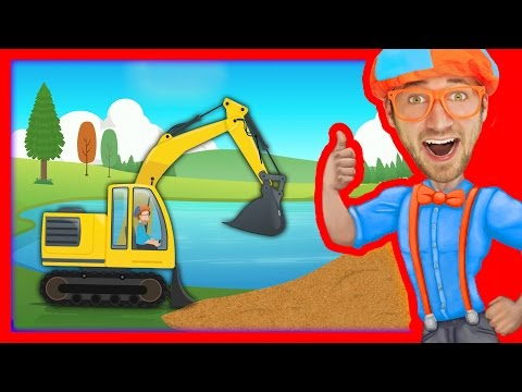 Construction Vehicles for Kids with Blippi | The Excavator Song