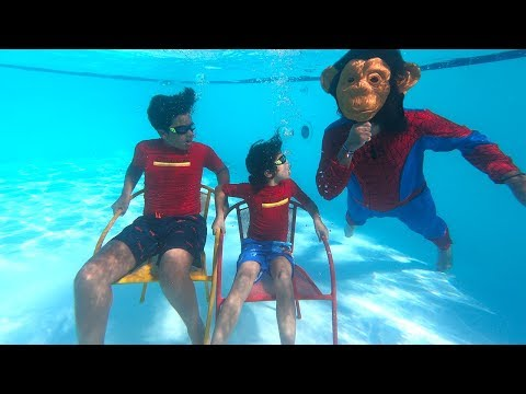 Adel and sami play swimming pool with monkey, ,Funny children's videos