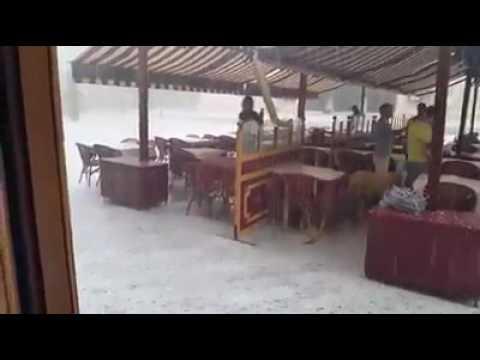 Huge freak hailstones fall on Murcia in Spain in July