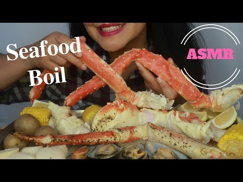 ASMR - Leg Day #4 - King Crab Legs With Mussels, And Scallops (No Talking)