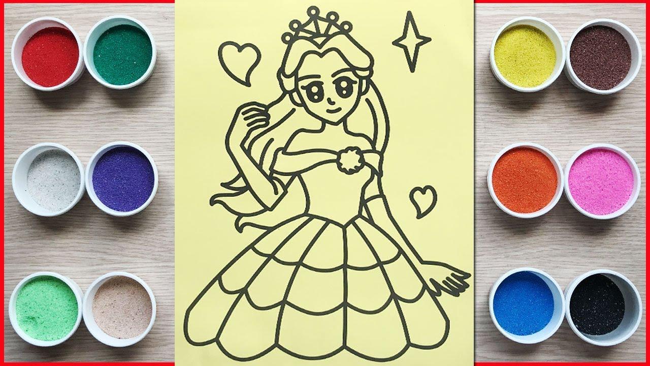 Đồ chơi trẻ em, TÔ MÀU TRANH CÁT CÔNG CHÚA XINH ĐẸP – Colored sand painting princess (Chim Xinh)