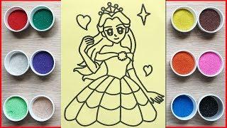 Đồ chơi trẻ em, TÔ MÀU TRANH CÁT CÔNG CHÚA XINH ĐẸP - Colored sand painting princess (Chim Xinh)