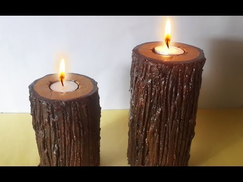 this is not wood learn how to make realistic wooden candle holder frm cardboard diwali. Black Bedroom Furniture Sets. Home Design Ideas