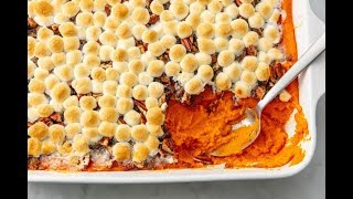 How To Make Sweet Potato Casserole With Marshmallows AND Pecans | Delish Insanely Easy
