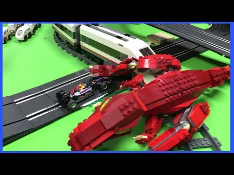 CARRERA SLOT CARS vs LEGO TRAIN DINOS AND STAR WARS MINIFIGURES