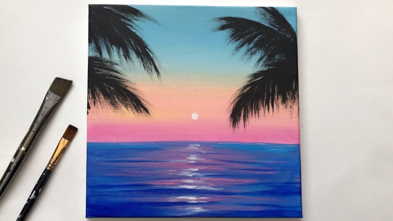 Acrylic Painting For Beginners On Canvas Calm Sunset Easy Step By Youtube
