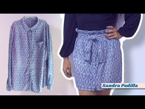 DIY - De Camisa Reciclada a Falda - Paper Bag Skirt - SANDRA PADILLA