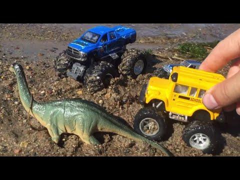 Yellow School Bus Monster Trucks Trains Dinosaurs Colors For Children Dinosaurs Toys For Kids Youtube