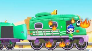 ПОЖАР НА ПОЕЗДЕ СПАСЕНИЕ ПАССАЖИРОВ Мультик анимашка про пожарных Мультики про паровозики