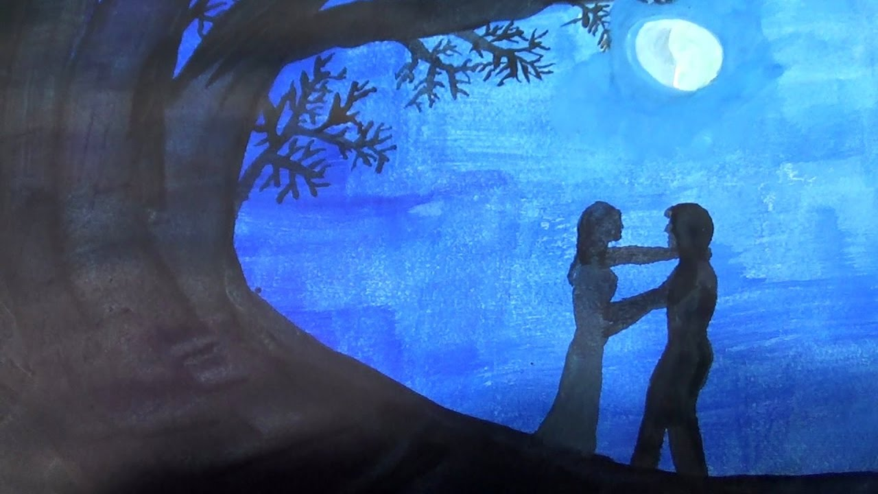 How to draw moonlight lover moonlight lovers scene drawing easy and step by step 💙