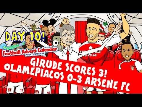 Giroud Hat-trick -Rude Parody! Olympiacos 0-3 Arsenal (Champions League goals highlight Day 10)