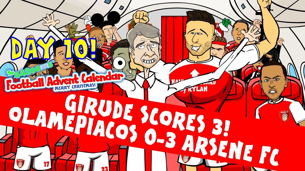 Download Giroud Hat-trick -Rude Parody! Olympiacos 0-3 Arsenal (Champions League goals highlight Day 10)