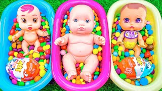 Satisfying Video | Mixing Candy in Three BathTube with Kinder Surprise & Magic M&M's - Cutting ASMR