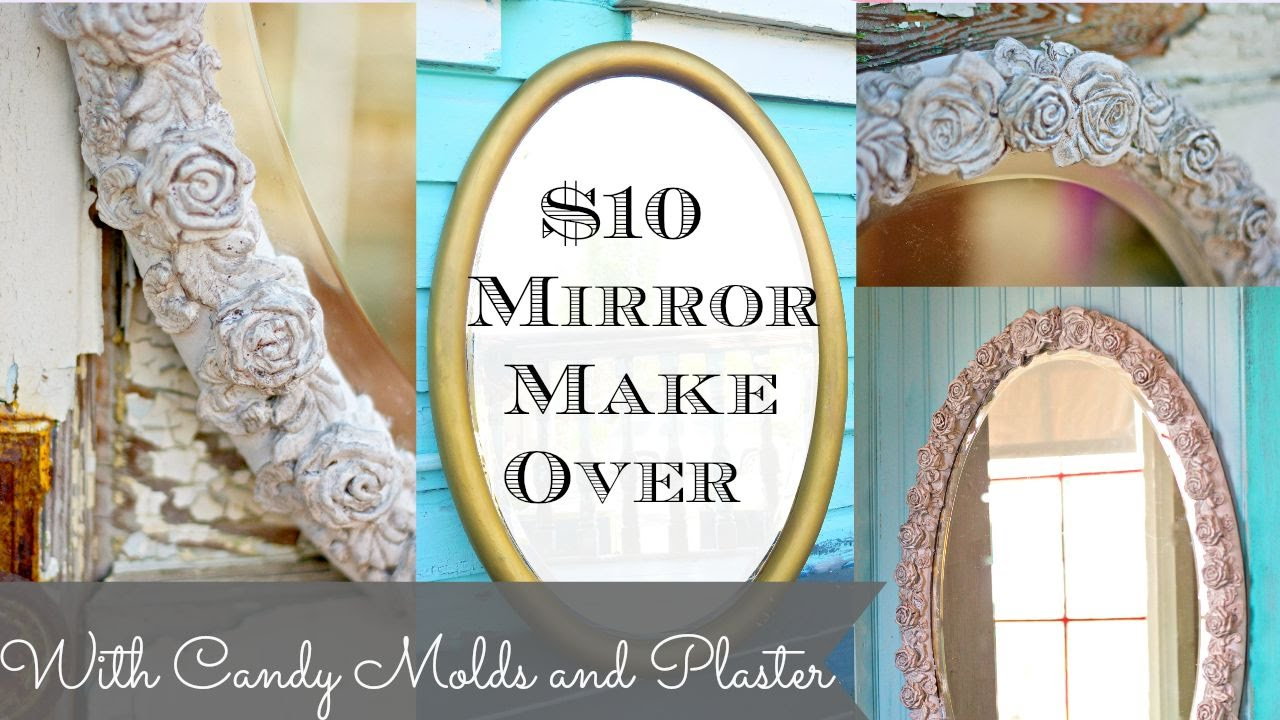 DIY Mirror with Plaster Chalk Type Paint and Cake molds - YouTube