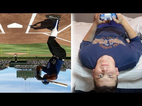Playing A Game WHILE LAYING UPSIDE DOWN! MLB THE SHOW 17