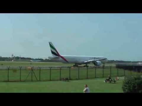 Arrival of Emirates 021 B777 23R, then Emirates 022 Taxing to A1,  then Takeoff 05L  8th July 2013